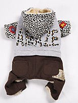 Dog Coat Sweatshirt Clothes/Jumpsuit Dog Clothes Casual/Daily Keep Warm Sports Color Block Leopard