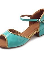 Kids' Latin Patent Leather Leatherette TPU Sandal Heel Practice Buckle Chunky Heel Green 1