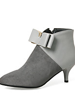 Women's Shoes Leatherette Winter Bootie Boots Stiletto Heel Pointed Toe Booties/Ankle Boots Bowknot Zipper For Party & Evening Dress Gray