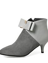Feminino Sapatos Courino Inverno Curta/Ankle Botas Salto Agulha Dedo Apontado Botas Curtas / Ankle Laço Ziper Para Social Festas & Noite