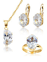 Women's Fashion Simple Style Crystal Gold Plated Earrings Necklace For Wedding Office & Career Wedding Gifts