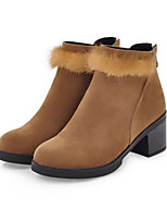 Women's Shoes Suede Fall Winter Comfort Novelty Fashion Boots Bootie Boots Chunky Heel Round Toe Booties/Ankle Boots Feather Zipper For