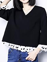 Tee-shirt Femme,Couleur Pleine Sortie simple Automne Manches 3/4 Col en V Coton Fin