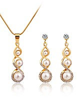 Women's Fashion Simple Style Imitation Pearl Rhinestone Earrings Necklace For Wedding Daily Wedding Gifts