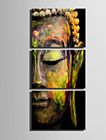 E-HOME Stretched Canvas Art  Half Face Bronze Statue Of Buddha Decoration Painting Set Of 3