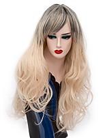 Donna Parrucche sintetiche Senza tappo Lungo Onda riccia Oro chiaro Capelli schiariti Parrucca di Halloween costumi parrucche