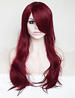 Women Synthetic Wig Capless Long Wavy Deep Wave Dark Red With Bangs Party Wig Natural Wigs Costume Wig