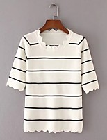 Women's Going out Casual/Daily Sexy Simple Street chic Spring Fall T-shirt,Striped Color Block Round Neck Long Sleeves Cotton Others Thin
