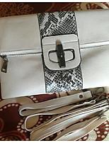 Women Bags All Seasons Cowhide Clutch Zipper for Casual Black White