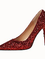 Women's Shoes Leatherette Spring Fall Comfort Heels Stiletto Heel Pointed Toe For Dress Champagne Royal Blue Red Rainbow Silver