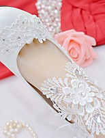 Women's Shoes Lace Leatherette Spring Fall Comfort Wedding Shoes Stiletto Heel Round Toe Rhinestone Bowknot Applique Stitching Lace