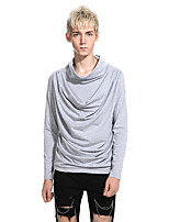 Men's Casual/Daily Regular Pullover,Solid Turtleneck Long Sleeves Cotton Spring Fall Medium Micro-elastic