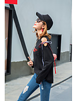 Mujer Simple Chic de Calle Tallas Grandes Casual/Diario Primavera Otoño Camiseta,Escote Redondo Letra Manga Larga Algodón Medio