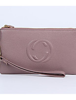 Women Bags All Seasons Cowhide Clutch Zipper for Casual Black Blushing Pink Purple