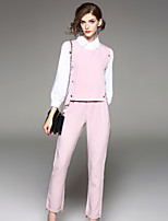 EWUS Women's Going out Casual/Daily Street chic Fall Shirt Pant Suits,Solid Shirt Collar Long Sleeve Inelastic