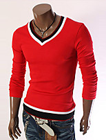 Men's Sports Casual/Daily Vintage Simple Regular Pullover,Solid Color Block Round Neck Long Sleeves Wool Polyester Fall Winter Medium