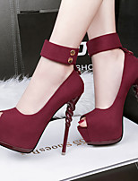Women's Shoes Fleece Spring Summer Comfort Heels For Casual Party & Evening Black Gray Green Pink Wine