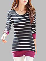 Women's Daily Spring Fall T-shirt,Striped Round Neck Long Sleeves Cotton Medium