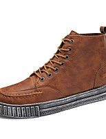Men's Shoes Leatherette Spring Fall Comfort Fashion Boots Sneakers For Casual Brown Black