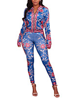 Women's Holiday Going out Vintage Boho Spring Fall Set Pant Suits,Color Block Printing Round Neck Polyester Micro-elastic