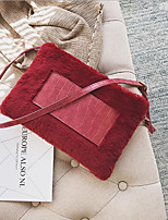 Women Bags Fur Clutch Zipper for Casual All Seasons Black Red Army Green