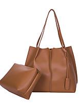 Women Bags All Seasons PU Bag Set 2 Pieces Purse Set Zipper for Shopping Casual Black Beige Brown Dark Grey Light Grey