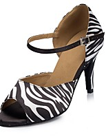 Women's Latin Faux Leather Sandal Performance Pattern/Print Cuban Heel Green Black-white 1