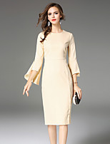 MAXLINDY Women's Party Going out Casual/Daily Sexy Vintage Sophisticated A Line Dress,Solid Round Neck Knee-length 3/4 Length Sleeves Polyester