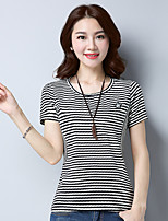 Women's Daily Going out Casual T-shirt,Striped Round Neck Short Sleeves Cotton
