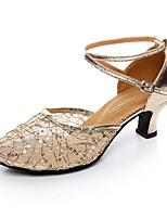 Women's Modern Lace Sparkling Glitter Paillette Heel Professional Buckle Cuban Heel Gold Black Silver