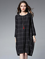 JIANRUYI Women's Casual/Daily Punk & Gothic Loose Dress,Plaid Round Neck Midi Long Sleeves Cotton Linen Fall High Rise Inelastic Medium