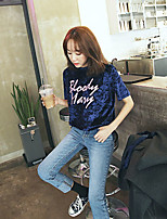 Women's Daily Street chic T-shirt,Letter Round Neck Short Sleeves Polyester