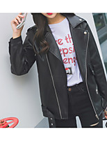 Women's Casual/Daily Simple Vintage Street chic Fall Winter Leather Jacket,Solid Peaked Lapel Long Sleeve Regular Cowhide