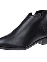 Mujer Zapatos PU Otoño Invierno Botas de Combate Botas Tacón Bajo Dedo Puntiagudo Mitad de Gemelo Cremallera Para Casual Negro Caqui