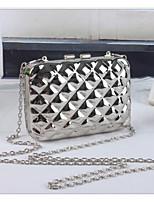 Women Bags All Seasons PU Shoulder Bag Zipper for Casual Gold Silver