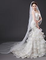 Une couche Maille Robe Convertible Coiffures Décoratif Mariage Mariée Voiles de Mariée Voiles cathédrale Avec Strass Ruché Tulle
