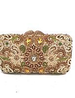 Women Bags All Seasons Metal Evening Bag Crystal Detailing for Wedding Event/Party Formal Gold