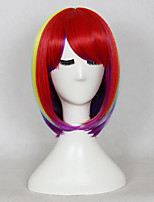 Women Synthetic Wig Capless Medium Length Straight Rainbow Bob Haircut With Bangs Cosplay Wig Costume Wig