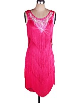 Shall We Latin Dance Women's Performance Spandex Tassel(s) Sleeveless Natural Dress
