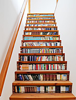 3D Bookcase Stairs Stickers Many Kinds Of Books Stairway Decal Book and Story Creative Corridor Floor Sticker Home Decor For Kids Room 18*100*13cm