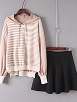 Women's Beach Simple Spring Fall Hoodie Skirt Suits,Striped Color Block Hooded Long Sleeve Ruffle Micro-elastic