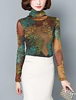 Chemisier Femme,Imprimé Sortie Grandes Tailles Hiver Automne Manches Longues Col Roulé Polyester Spandex Moyen