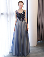 A-Line Princess Sheath / Column V-neck Floor Length Tulle Satin Chiffon Formal Evening Dress with Flower(s) by Embroidered bridal