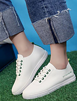 Women's Shoes PU Spring Fall Comfort Sneakers Flat Heel Round Toe For Casual Outdoor Green Black