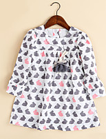 Girl's Birthday Daily Going out Holiday Animal Print Dress,Cotton Spring Fall Long Sleeve Basic Cartoon Leisure Korean Adorable Fashion