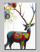 Hand-Painted Animal VerticalAbstract Modern 1pc Canvas Oil Painting For Home Decoration