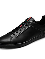 Men's Shoes Real Leather Spring Fall Comfort Sneakers For Casual Black