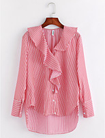 Women's Daily Sophisticated Fall Shirt,Striped Cowl Neck Long Sleeves Cotton Thin