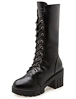 Women's Shoes PU Fall Comfort Boots Chunky Heel Round Toe Mid-Calf Boots Lace-up For Casual Black