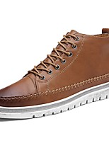 Men's Shoes PU Fall Winter Comfort Sneakers Lace-up For Casual Brown Black